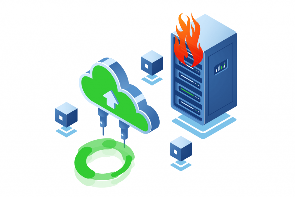 """Image for the article """"Fire in the server room - why do you need independent backup"""""""