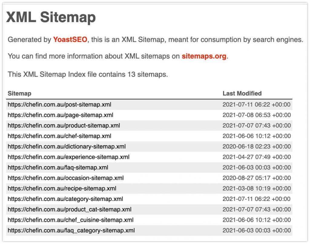 XML sitemap index example